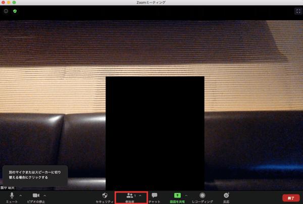 zoomのミーティング中画面